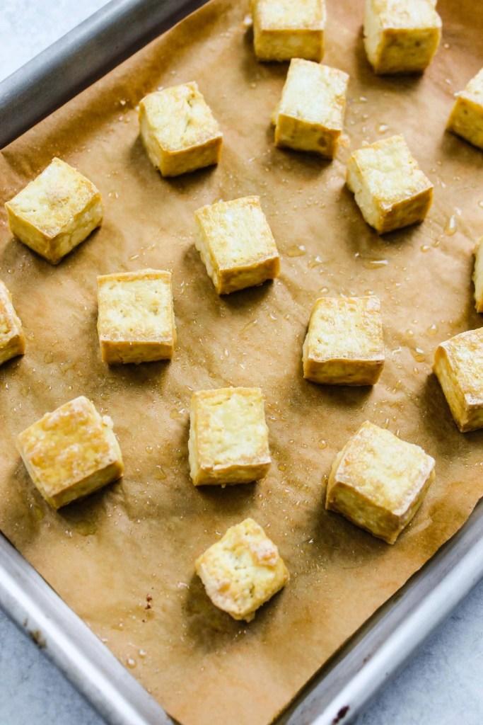 baking sheet with crispy tofu