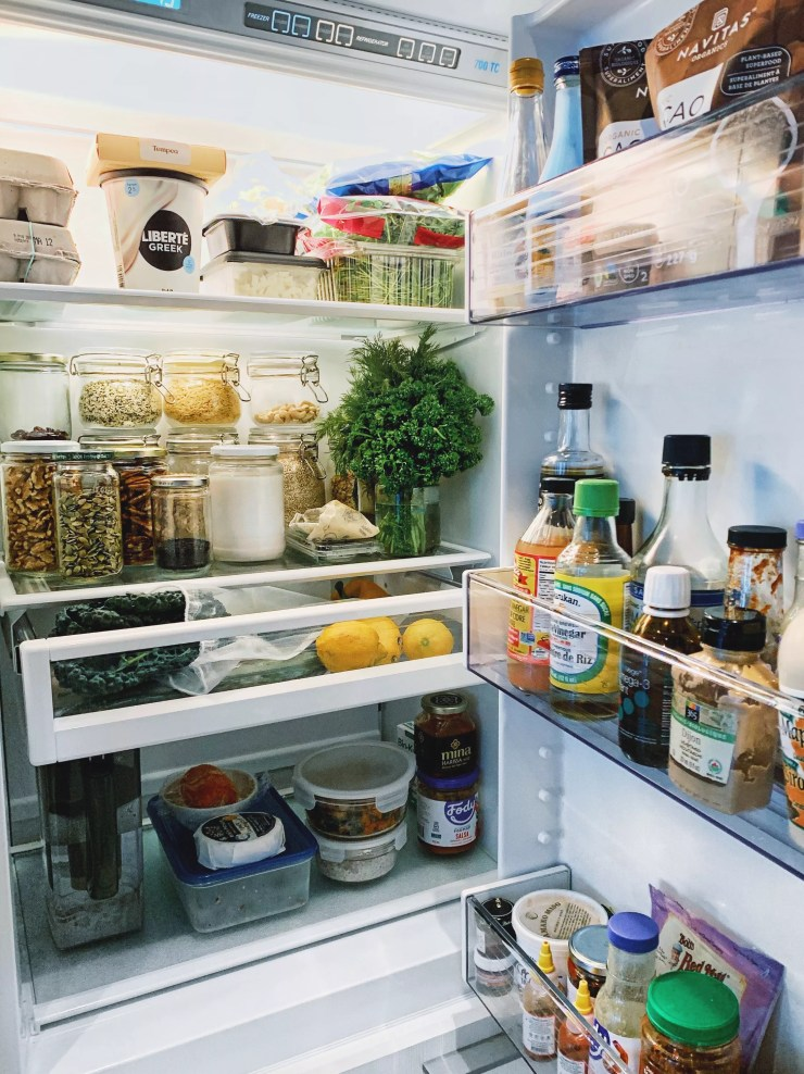 A dietitian's healthy pantry staples, inside fridge