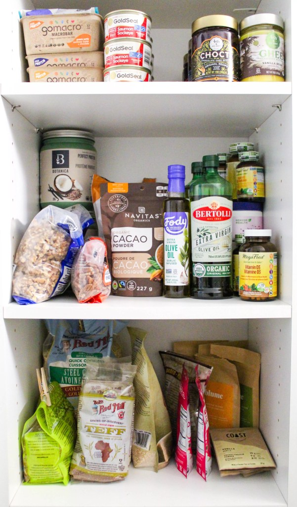 A dietitian's healthy pantry staples, packaged dry ingredients