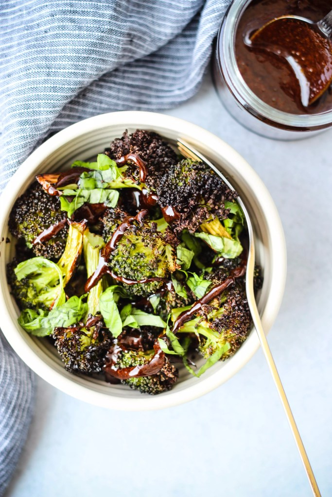 roasted broccoli with balsamic reduction and basil
