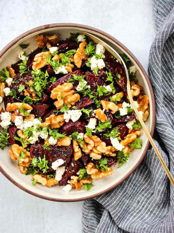 balsamic roasted beets with goat cheese, walnuts, parsley