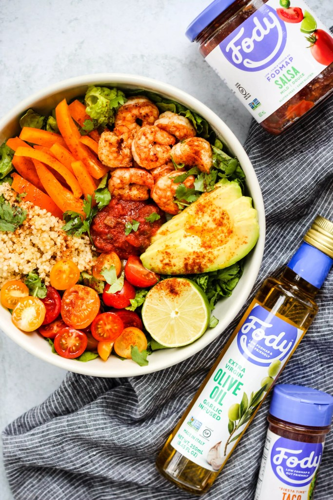 low fodmap shrimp taco salad bowl with fody foods products