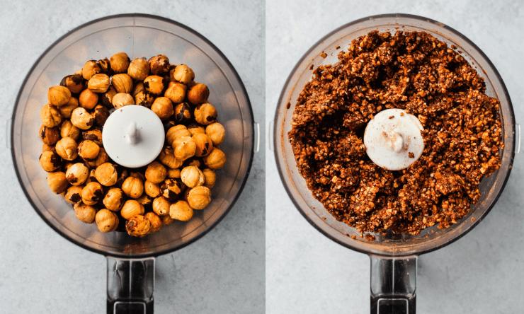 side by side of hazelnuts in food processor