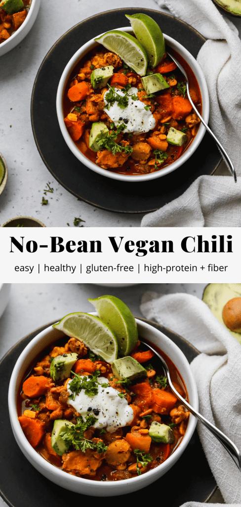 pinterest graphic for no-bean vegan chili recipe