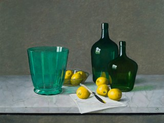 Green Glass & Yellow Lemons