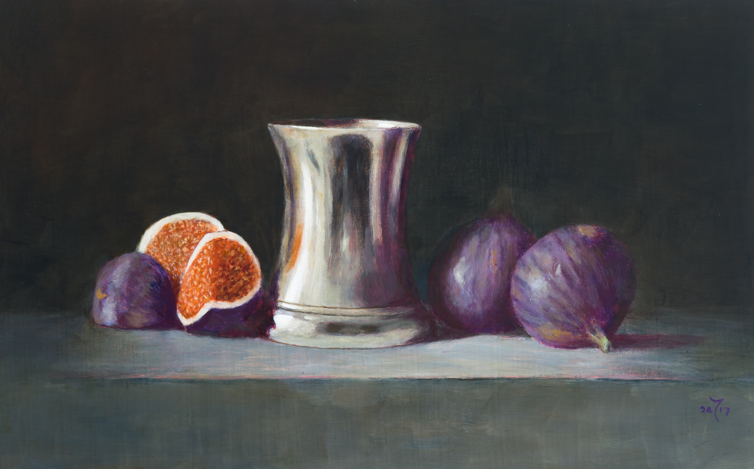 Figs and silver beaker