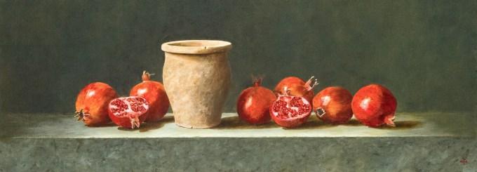 Pomegranates with terracotta