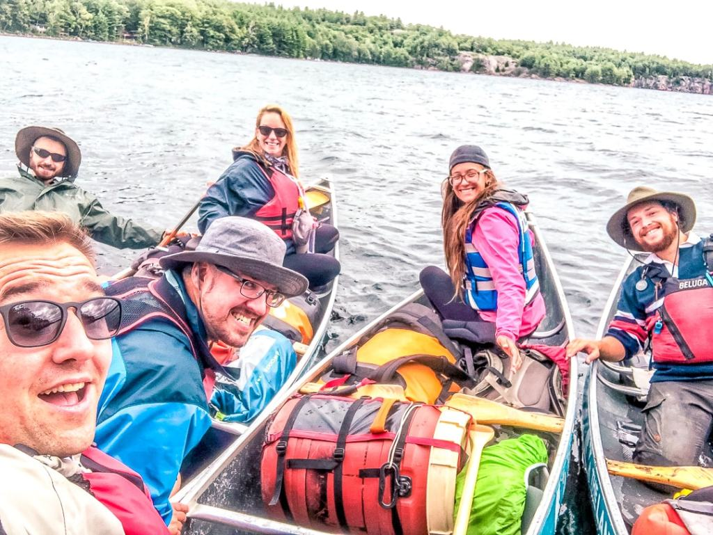 family camping in ontario by canoe