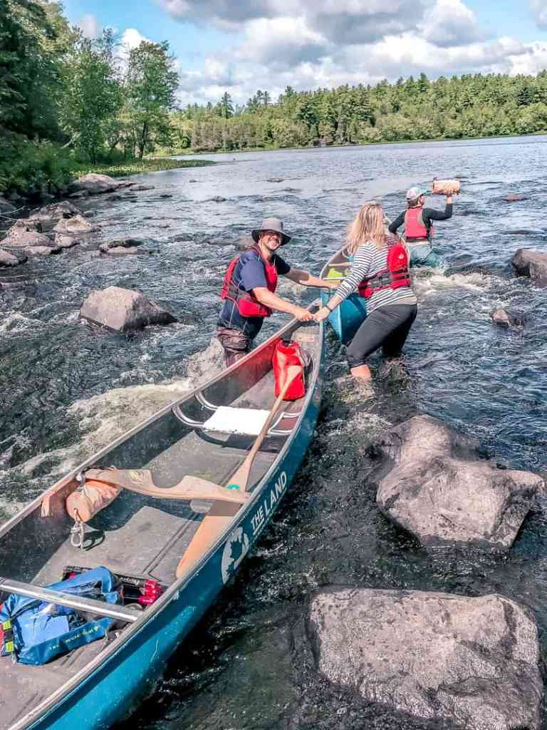 pulling canoes camping in the kawarthas