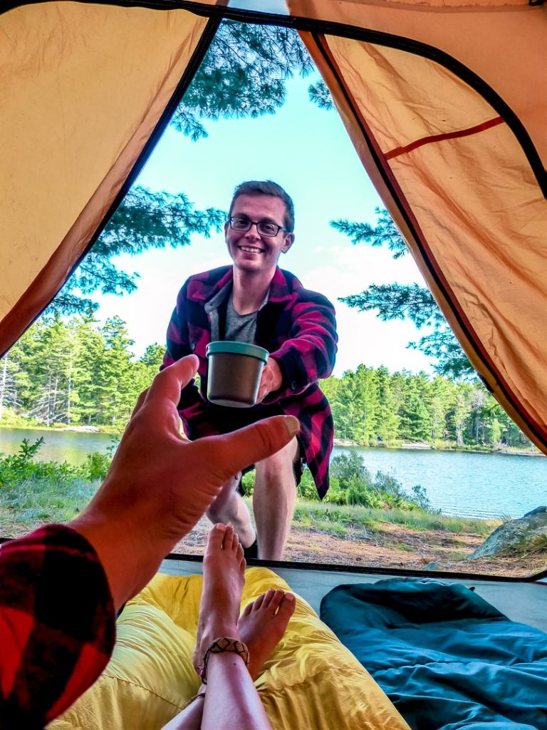 coffee in a tent while camping