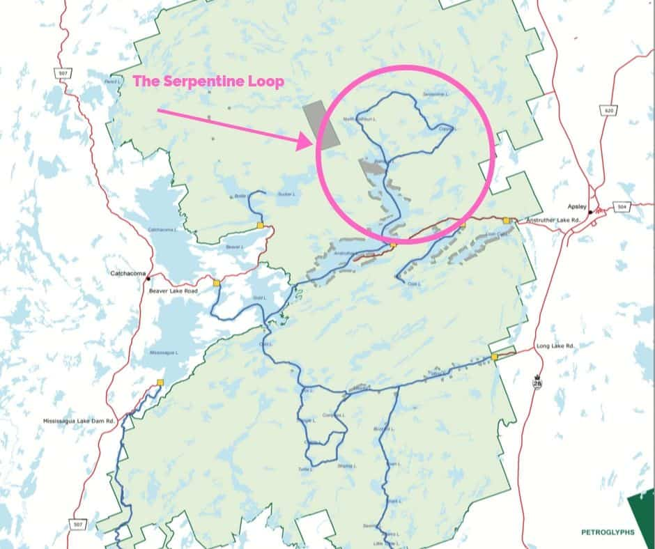 Kawartha Highlands Provincial Park map with serpentine loop