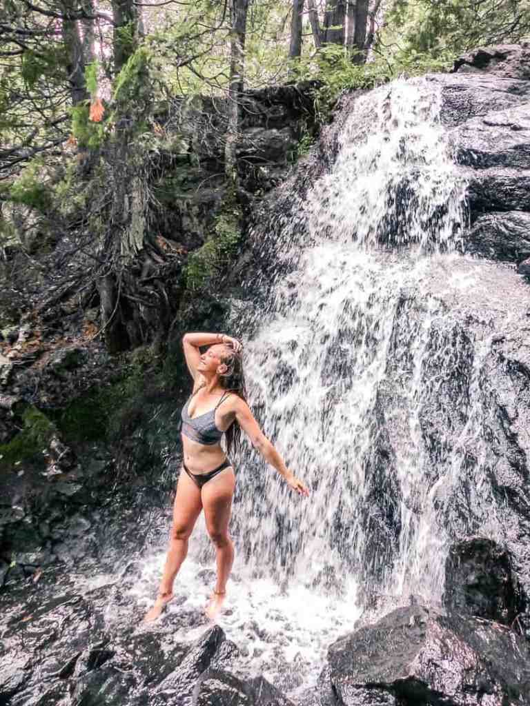 swimming in a waterfall in the Kawarthas in Ontario