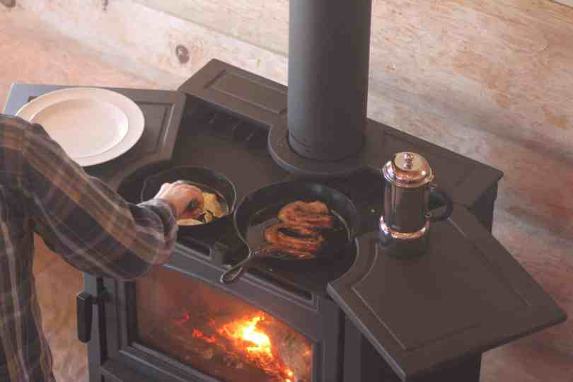 wood stove with cooking surface