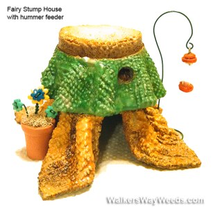 Miniature Fairy Stump house 4 hummers