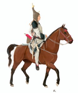 Artist's impression of a Scythian on a horse. Reconstruction by D V Pozdnjakov.
