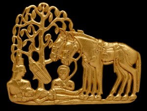 Scythians with horses under a tree. Gold belt plaque. Siberia, 4th–3rd century BC. © The State Hermitage Museum, St Petersburg, 2017. Photo: V Terebenin.`