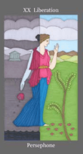 A drawing of the Goddess Persephone, holding a poppy in her right hand. The left side of the drawing is dark and grey, representing the Land of the Dead, which She is walking out of, and towards the right side of the card, which is filled with sunlight, and represents life.