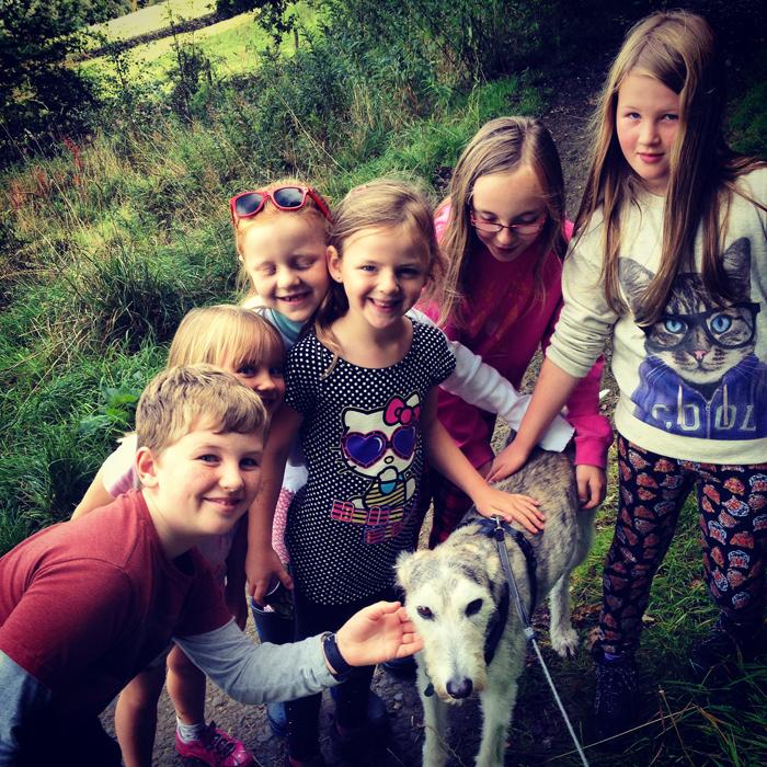 Kids petting Alfie