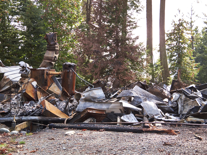 Fire damage of Camp fircom church hall