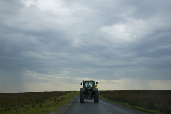 Tractor on Road in the Yorkshire Dales
