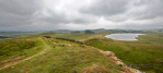 Panoramic view out over Hadrian's wall, Housesteads, Northumberland.