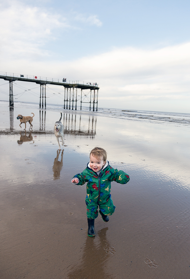 Toddler on the neach at Saltburn by the Sea