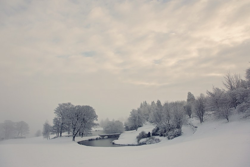 Scenic landscape of Ilkley Golf Course in a blanket of snow