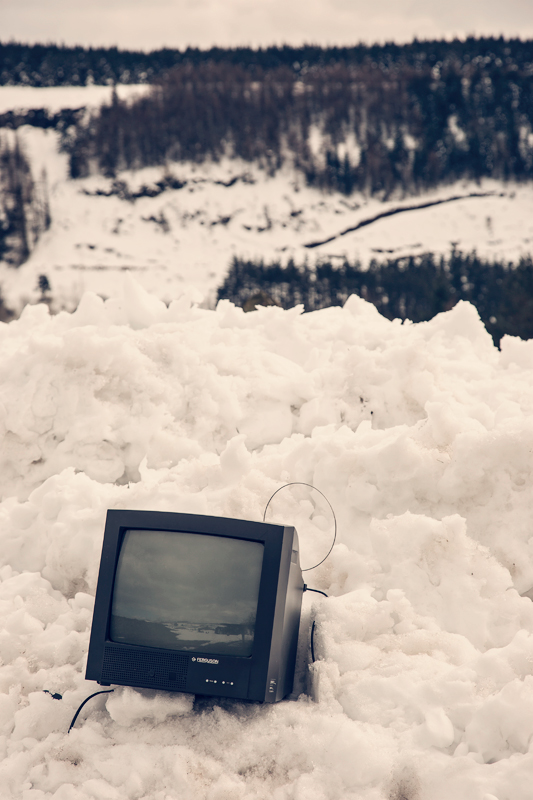TV sitting in the Snow at Glenariff, Northern Ireland