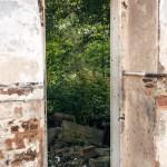 View through broken door