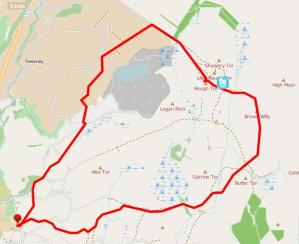 Walks And Walking - Cornwall Walks Bodmin Moor Rough Tor And Brown Willy Walking Route Map