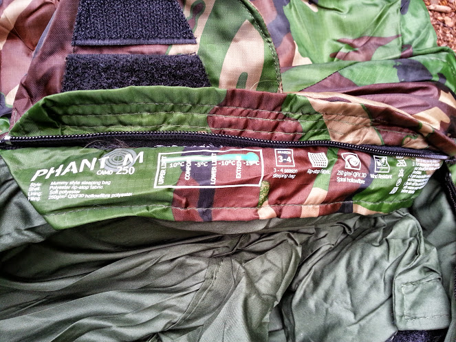 Walks And Walking - Pro Force Phantom Camo 250 Sleeping Bag - Product Features Inside Label