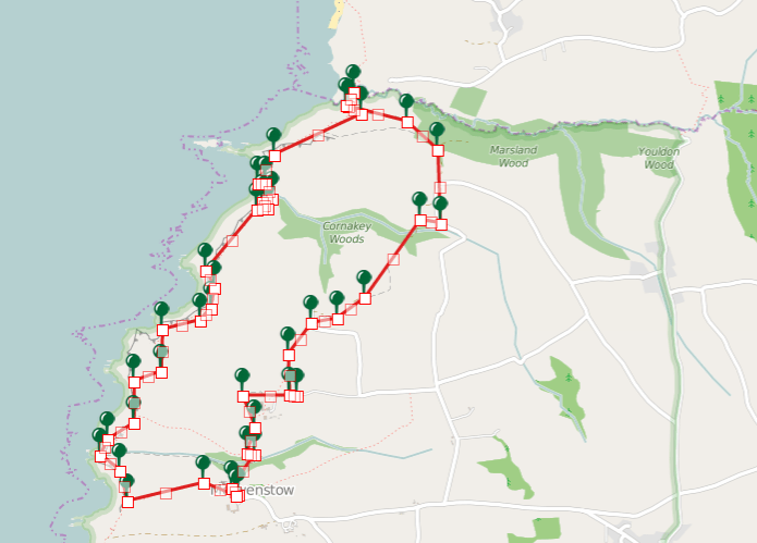 Walks And Walking - Morwenstow Walk In Cornwall Map