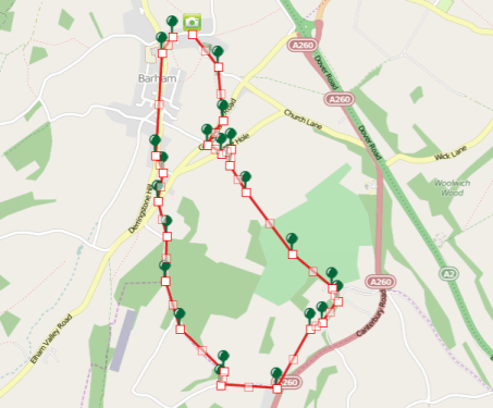 Walks And Walking - Barham Walk In Kent Map
