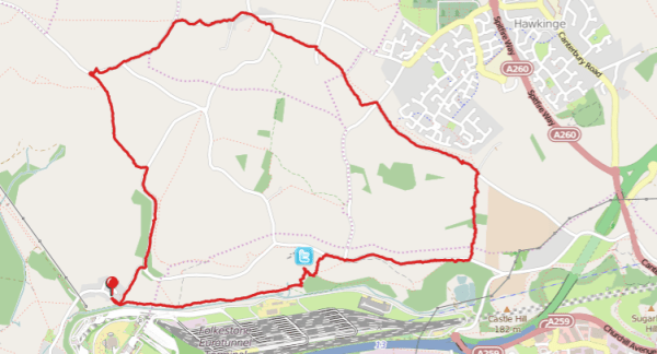 Walks And Walking - Paddlesworth Walk In Kent Map