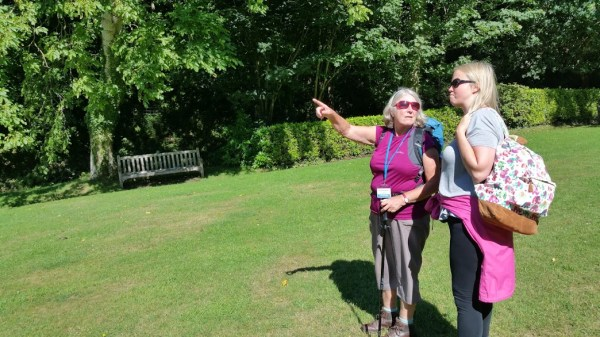 HF Holidays 4 Mile Family Circular Walk From Holnicote House - Activity Leader Mary talking to Mary