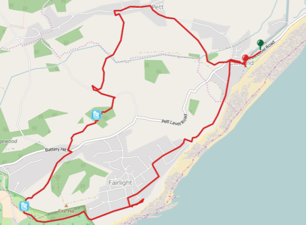 Walks And Walking - Fairlight Cove Dinosaur Walk in East Sussex Map