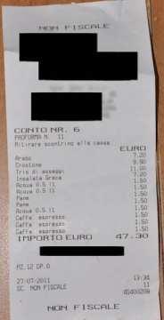 This isn't a ricevuta fiscale!