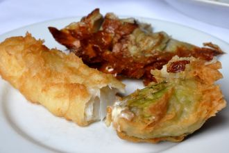 Fried foods of Rome, including baccala and fiori di zucca