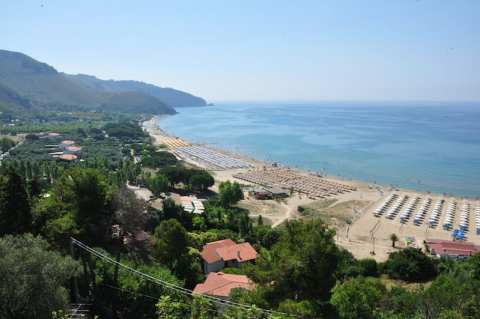 The beach and town of Sperlonga in Lazio