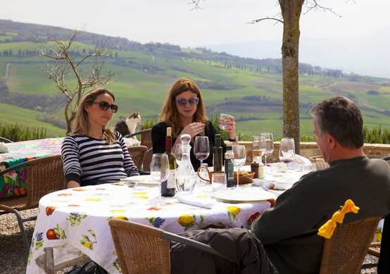 Eating lunch on a Tuscan farm during our Tuscan day trip from Rome