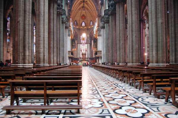 There are 52 pillars inside Milan Cathedral, one for every week of the year
