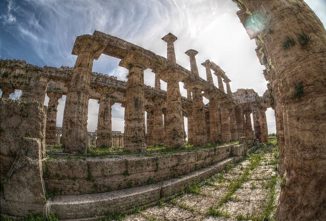 Paestum was a major ancient Greek city on the coast of the Tyrrhenian Sea in Magna Graecia. Photo by PA ARSE (flikr)