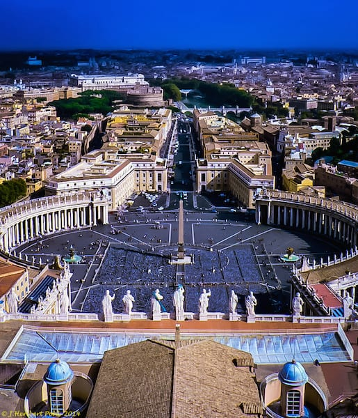 An aerial view of St. Peter's Square from the Cupola of St. Peter's Basilica. Photo by Heribert Pohl