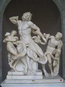 The 1st century Laocoön statue was found in 1503 and identified by Michelangelo as a masterpiece from the sculptures of Rhodes. Photo from Wikicommons.