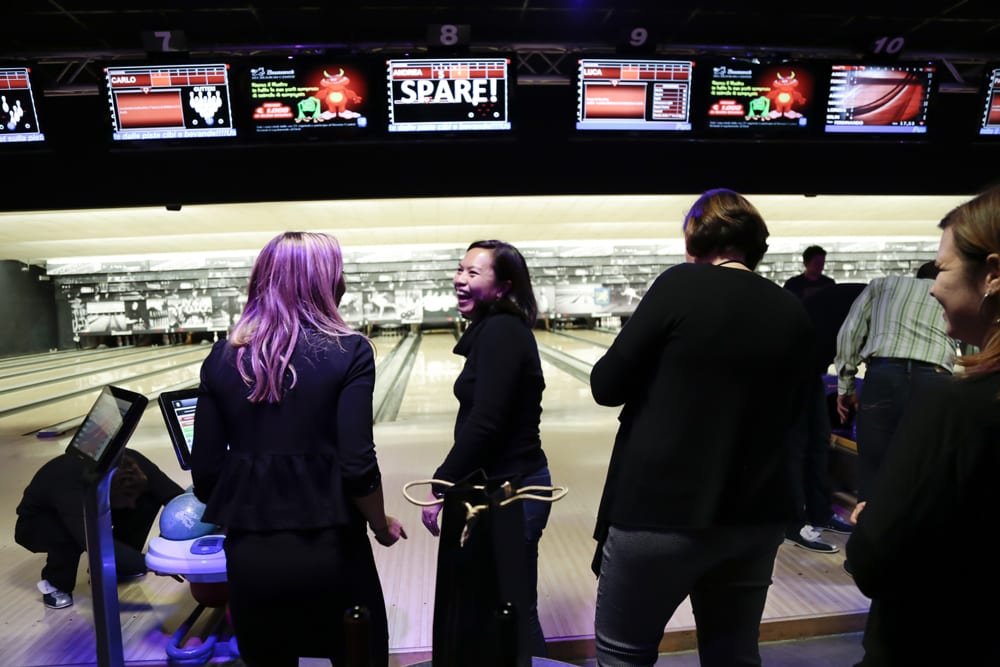 Despite claiming to never have bowled, Walks's Facebook and Twitter maven Diana Simon threw spares all night long.