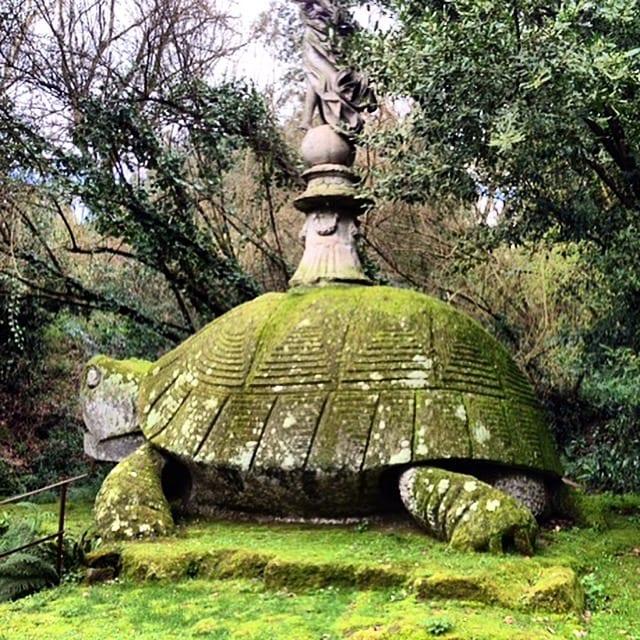 An enormous stone turtle in the Parco dei Monstri in Bomarzo, Tuscia.