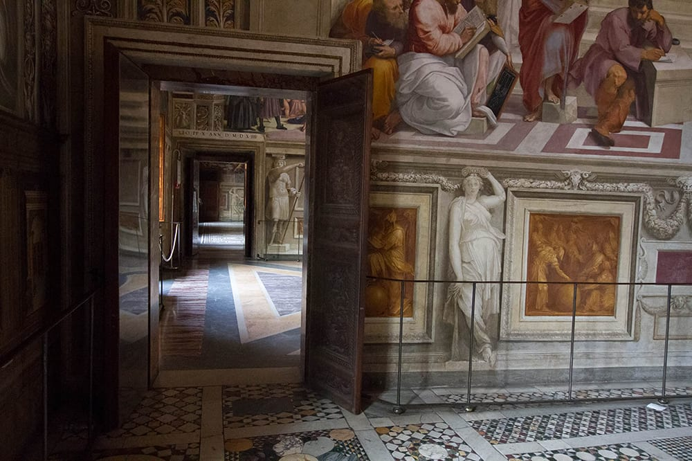 Going at night is the only way you'll ever see the Raphael rooms this empty.