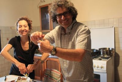 Yves M. Larocque and Monica Marquez cooking during our art classes in Tuscany