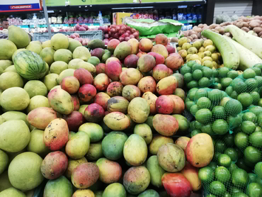 Tasting mangos in the Caribbean Coast during our winter escape in South America