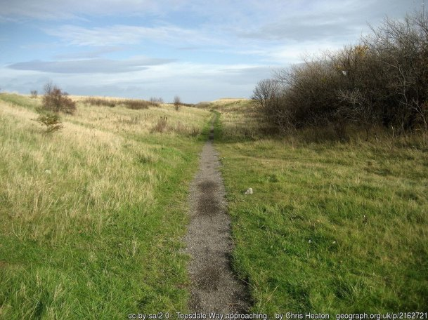 Teesdale Way / ECP approaching Coatham Marsh The long distance footpath approaches an area of marsh and wetland as it crosses ground towards Warrenby